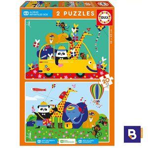 PUZZLE EDUCA BORRAS 2 X 20 PIEZAS ANIMALES JULIEN CHUNG ALDEAS INFANTILES SOS 17725