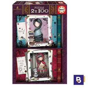 PUZZLE EDUCA BORRAS 2 X 100 PIEZAS GORJUSS SANTORO 17822 LITTLE RED RIDING HOOD Y RAPUNZEL