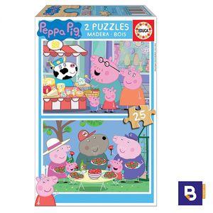 PUZZLE DE MADERA EDUCA BORRAS 2 X 25 PIEZAS PEPAP PIG 18078