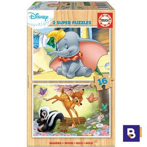 PUZZLE EDUCA BORRAS 2 X 16 PIEZAS ANIMALES DISNEY ANIMALS 18079