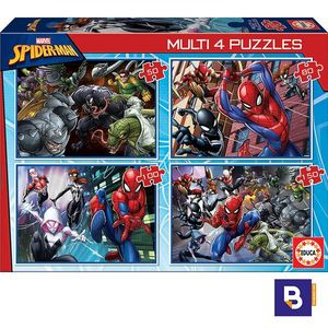 PUZZLE EDUCA BORRAS 4 MULTI PUZZLES 50 + 80 + 100 + 150 SPIDERMAN 18102