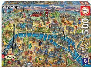PUZZLE EDUCA BORRAS 500 PIEZAS MAPA DE PARIS REF 18452