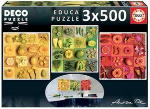 PUZZLE EDUCA BORRAS 3X500 PIEZAS EXOTIC FRUIT&FLOWERS REF 18454