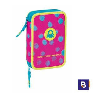 PLUMIER DOBLE PEQUEÑO 34PCS BENETTON DOTS PAINTED 411750054
