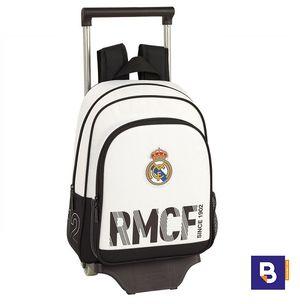 MOCHILA PEQUEÑA CON CARRO SAFTA REAL MADRID PRIMERA EQUIPACION 611854020 CON RUEDAS