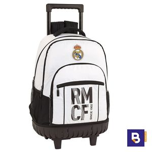 MOCHILA DOBLE BACKPACK CON CARRO FIJO COMPACT SAFTA REAL MADRID 611854818 CON RUEDAS