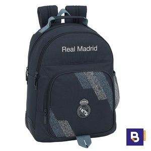 MOCHILA DOBLE 42CM SAFTA ADAPTABLE A CARRO REAL MADRID 2ª EQUIPACION DARK GREY 611834773