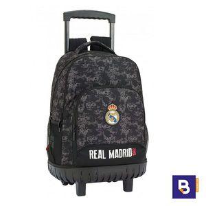MOCHILA 45CM BACKPACK SAFTA CON FIJO COMPACT REAL MADRID BLACK COLOR NEGRO 611924818