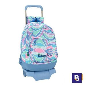 MOCHILA 46CM BACKPACK SAFTA CON CARRO 905 DESMONTABLE BENETTON ARCOBALENO 611951160