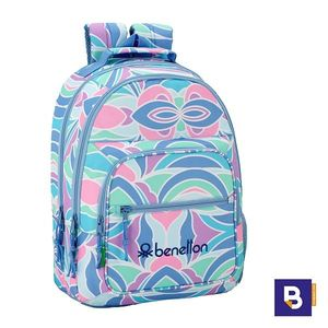 MOCHILA DOBLE 42CM SAFTA ADAPTABLE A CARRO BENETTON ARCOBALENO 611951560