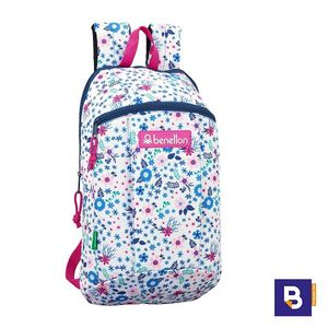 MINI MOCHILA PEQUEÑA SAFTA UCB BENETTON IN BLOOM WHITE 641916821 BLANCA FLORES