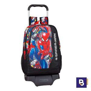 MOCHILA 44CM SAFTA CON CARRO 905 DESMONTABLE SPIDERMAN SUPER HERO 611943313 CON RUEDAS