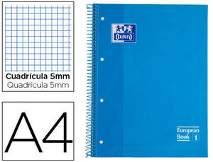 BLOC MICROPERFORADO OXFORD A4 80 HOJAS CUADRICULA 5 AZUL TURQUESA