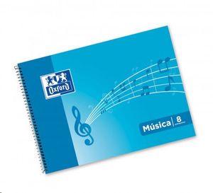 BLOC MUSICA OXFORD 4º APAISADO ESPIRAL 8 PENTAGRAMAS ESTRECHOS