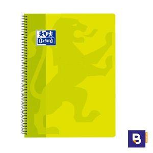 BLOC ESPIRAL LIBRETA OXFORD CUADRICULADO FOLIO 80H 90G TAPA PLASTICO AMARILLO NEON 400 093 619
