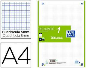 RECAMBIO OXFORD 1 COLOR VERDE A4 4 ANILLAS 90GRS CUADRICULA 5 MM 100 HOJAS