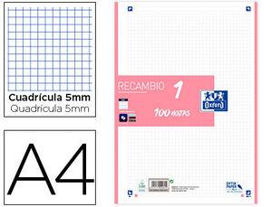 RECAMBIO OXFORD 1 COLOR ROSA A4 4 ANILLAS 90GRS CUADRICULA 5 MM 100 HOJAS