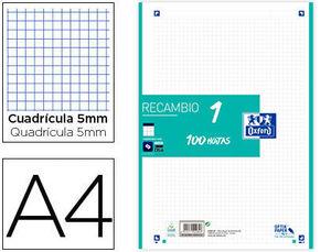 RECAMBIO OXFORD 1 COLOR ICE MENTA A4 4 ANILLAS 90GRS CUADRICULA 5 MM 100 HOJAS
