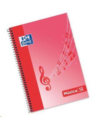 BLOC MUSICA OXFORD FOLIO ESPIRAL 12 PENTAGRAMAS 2,5 MM