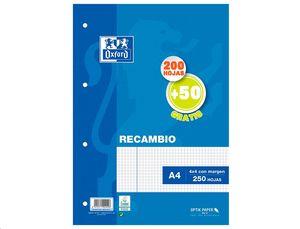 RECAMBIO OXFORD A4 4 ANILLAS CUADRICULA 4X4 CON MARGEN 200+50 HOJAS