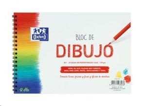 BLOC DE DIBUJO OXFORD A5+ 20 HOJAS MICROPERFORADAS LISAS 130 GRS