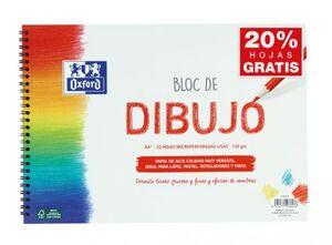 BLOC DE DIBUJO OXFORD A4+ 20 HOJAS MICROPERFORADAS LISAS 130 GRS