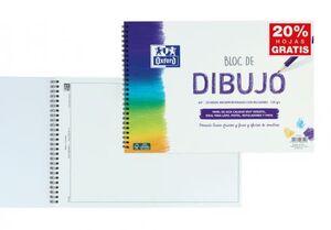 BLOC DE DIBUJO OXFORD A4+ 20 HOJAS MICROPERFORADAS CON RECUADRO 130 GRS