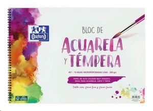 BLOC DE ACUARELA Y TEMPERA OXFORD A3+ 10 HOJAS MICROPERFORADAS LISAS 300 GRS