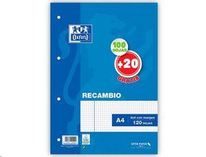 RECAMBIO OXFORD A4 4 ANILLAS CUADRICULA 4X4 CON MARGEN 100+20 HOJAS