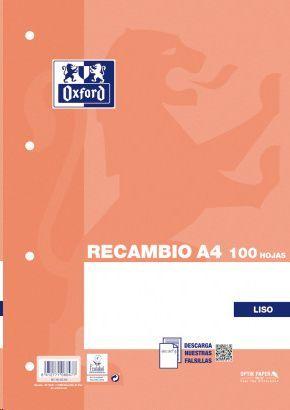 RECAMBIO OXFORD A4 4 ANILLAS LISO 90 GRS PAQUETE 100 HOJAS