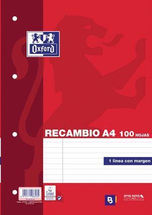 RECAMBIO OXFORD A4 4 ANILLAS HORIZONTAL CON MARGEN P/100 HOJAS