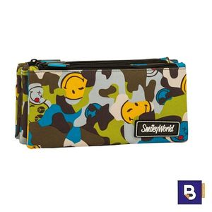PORTATODO TRIPLE ESTUCHE SPORTANDEM 3 BOLSILLOS INDEPENDIENTES SMILEY CAMU CAMUFLAJE 568074