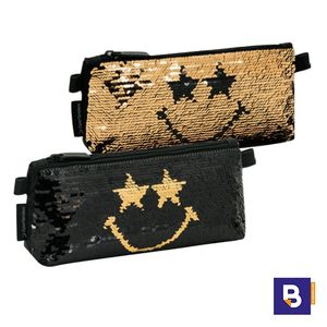 PORTATODO ESTUCHE SPORTANDEM SB SMILEY WORLD SEQUIN GOLD LENTEJUELAS REVERSIBLES NEGRO ORO 571159