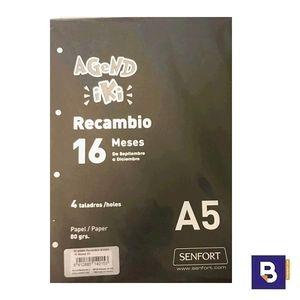 RECAMBIO PARA AGENDA SENFORT SEMANA VISTA 4 TALADROS A5 AGEND IKI 16 MESES 99968