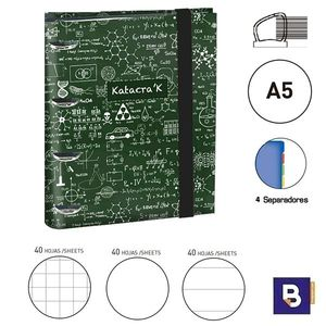CARPEBLOC RINGBOOK A5 SENFORT KATACRACK MATHS CARPETA CON 4 ANILLAS Y RECAMBIO DE 120 HOJAS 129509-2 VERDE FORMULAS BLANCO