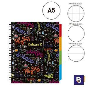 BLOC NOTEBOOK ESPIRAL A5 SENFORT KATACRAK MATHS LIBRETA CUADERNO 129069-1 NEGRO FORMULAS COLORES MULTICOLOR