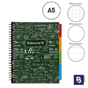 BLOC NOTEBOOK ESPIRAL A5 SENFORT KATACRAK MATHS LIBRETA CUADERNO 129069-2 VERDE FORMULAS BLANCO