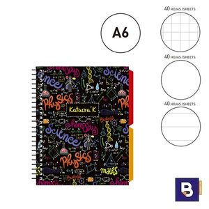 BLOC NOTEBOOK ESPIRAL A6 SENFORT KATACRAK MATHS LIBRETA CUADERNO 129089-2 FORMULAS COLORES MULTICOLOR