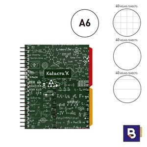BLOC NOTEBOOK ESPIRAL A6 SENFORT KATACRAK MATHS LIBRETA CUADERNO 129089-1 VERDE FORMULAS BLANCO