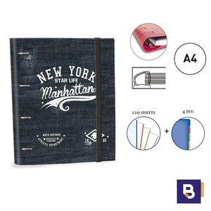 CARPEBLOC RINGBOOK A4 SENFORT KATACRAK DREAMS CARPETA CON 4 ANILLAS Y RECAMBIO DE 120 HOJAS 162049-1 NEW YORK STAR LIFE MANHATTAN
