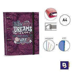 CARPEBLOC RINGBOOK A4 SENFORT KATACRAK DREAMS CARPETA CON 4 ANILLAS Y RECAMBIO DE 120 HOJAS 162049-2 FOLLOW YOUR DREAMS THEY KNOW THE WAY