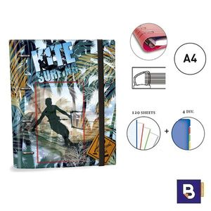 CARPEBLOC RINGBOOK A4 SENFORT KATACRAK KITE SURF AZUL CARPETA CON 4 ANILLAS Y RECAMBIO DE 120 HOJAS 165049-1 KITESURF