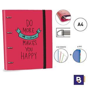 CARPEBLOC RINGBOOK A4 SENFORT KATACRAK GOOD VIBES CARPETA CON 4 ANILLAS Y RECAMBIO DE 120 HOJAS 168049-2 DO MORE OF WHT MAKES YOU HAPPY ROJO