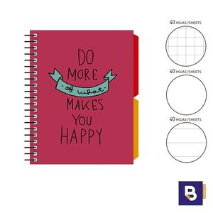 BLOC NOTEBOOK ESPIRAL A6 SENFORT KATACRAK GOOD VIBES LIBRETA CUADERNO 168089 ROJO DO MORE OF WHAT MAKES YOU HAPPY