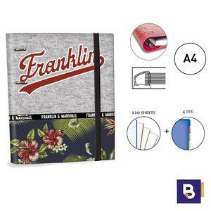CARPEBLOC RINGBOOK A4 SENFORT FRANLIN AND MARSHALL BOYS CARPETA CON 4 ANILLAS Y RECAMBIO DE 120 HOJAS 52049-1 GRIS AZUL MARINO FLORES