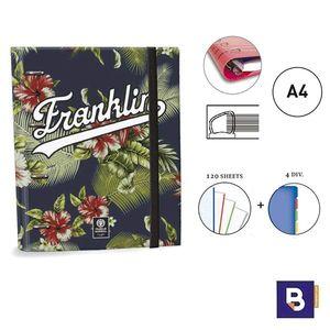 CARPEBLOC RINGBOOK A4 SENFORT FRANLIN AND MARSHALL BOYS CARPETA CON 4 ANILLAS Y RECAMBIO DE 120 HOJAS 52049-2 AZUL MARINO FLORES