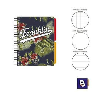 BLOC NOTEBOOK ESPIRAL A6 SENFORT FLANKLIN AND MARSHALL BOYS LIBRETA CUADERNO 520890-1 FLORES AZUL MARINO