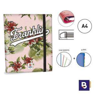 CARPEBLOC RINGBOOK A4 SENFORT FRANKLIN AND MARSHALL GIRLS CARPETA CON 4 ANILLAS Y RECAMBIO DE 120 HOJAS 53049-2 FLORES ROSA