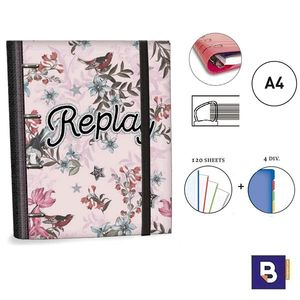 CARPEBLOC RINGBOOK A4 SENFORT REPLAY UNI CARPETA CON 4 ANILLAS Y RECAMBIO DE 120H 79049-1 ROSA FLORES