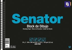 BLOCK DE DIBUJO SENATOR DIN A4 20 HOJAS SIN RECUADRO 2 TALADROS